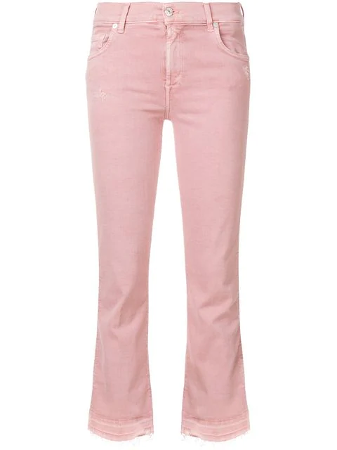 7 For All Mankind Cropped Flared Jeans In Pink