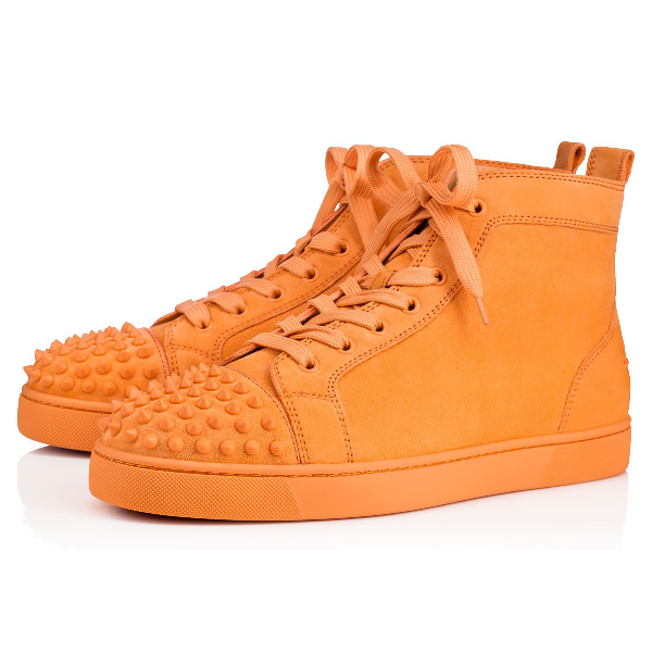 07632ab80910 Christian Louboutin Lou Spikes Men s Flat In Melon Melon Mat
