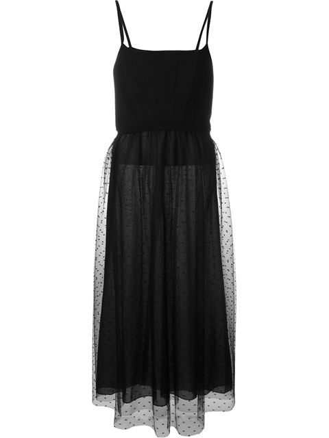 Red Valentino Stretch-knit And Point D'esprit Tulle Midi Dress In Black