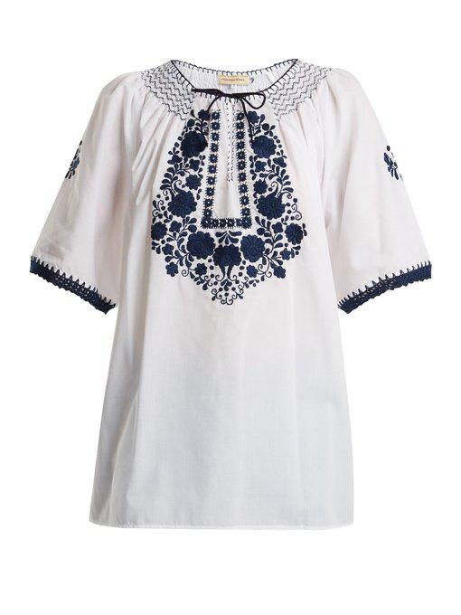 Muzungu Sisters Eva Embroidered Cotton Top In White Navy