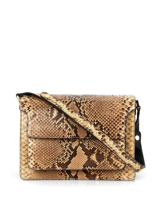 Marni Mini Trunk Python-Leather Shoulder Bag In Tonal-Brown And Beige