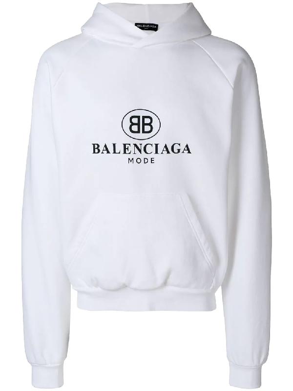 b419c3d10b2 Balenciaga Printed Fleece-Back Cotton-Blend Jersey Hoodie In White ...