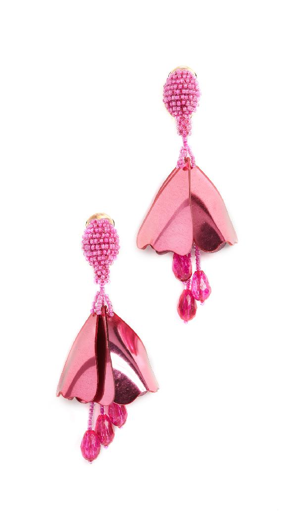 Oscar De La Renta Small Impatiens Clip On Earrings In Hot Pink