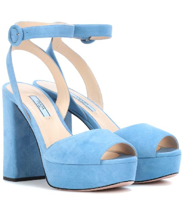 Prada Suede Platform Sandals In Blue