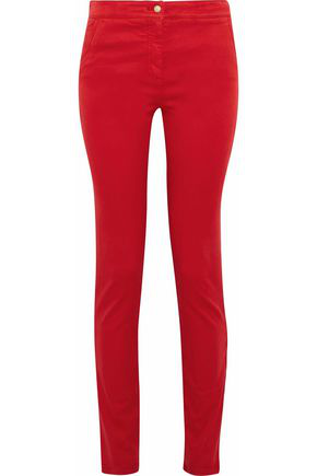 Balmain Woman Stretch-Cotton Twill Skinny Pants Red