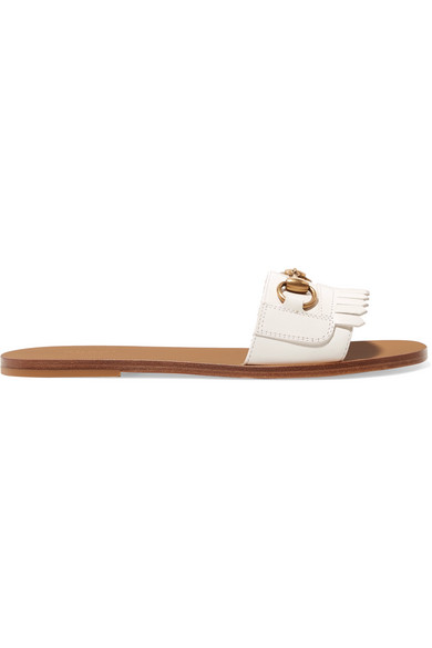 bb6a53712 GUCCI Women s Varadero Fringe Leather Slide Sandals in 9110 White. Gucci  Women