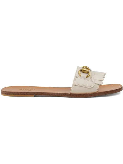 Gucci Horsebit-Detailed Fringed Leather Slides In Neutrals
