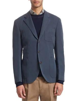 Brunello Cucinelli Wool Suit Jacket In Blue