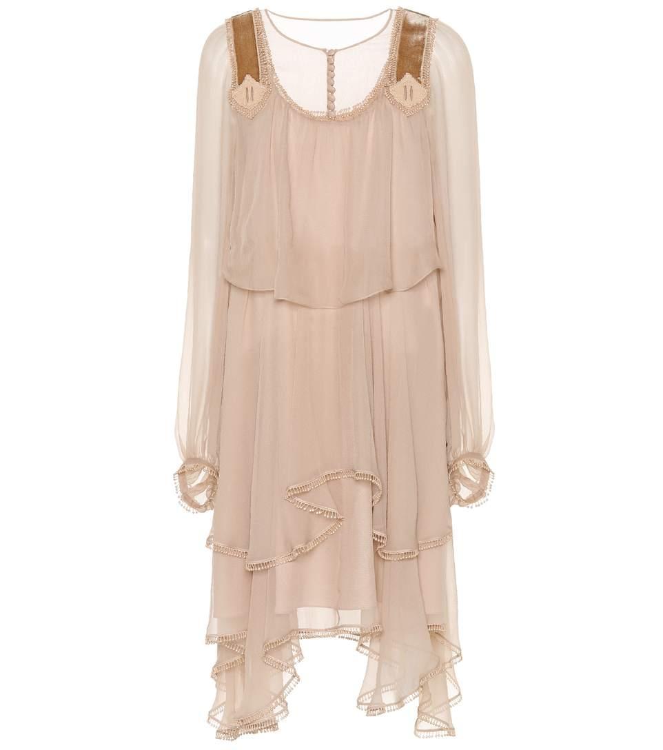 ChloÉ Silk Dress In Neutrals