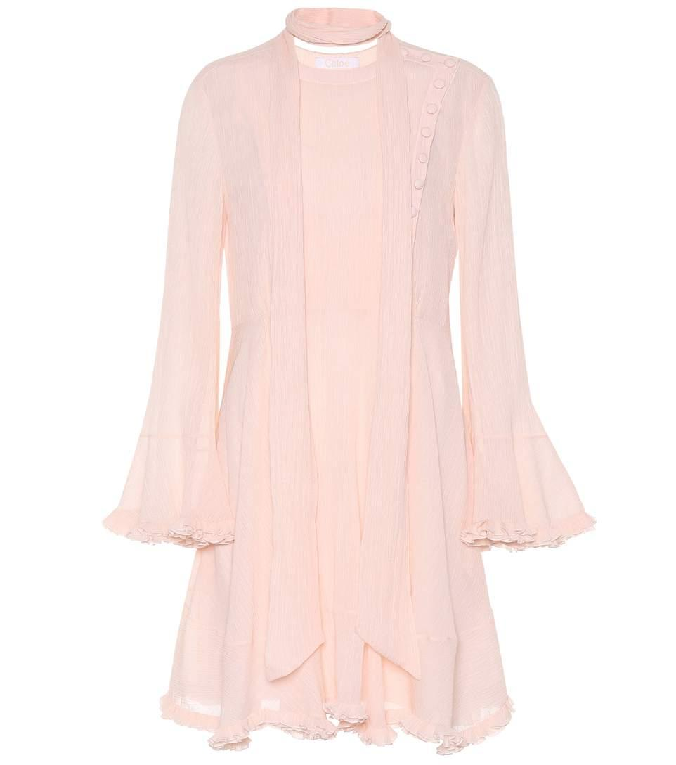 ChloÉ Cotton And Silk Dress In Pink