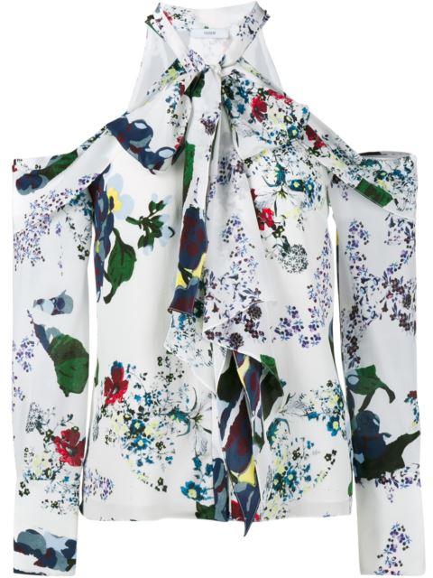 Erdem Aila Pussy-bow Cutout Silk Crepe De Chine Blouse In White & Multi