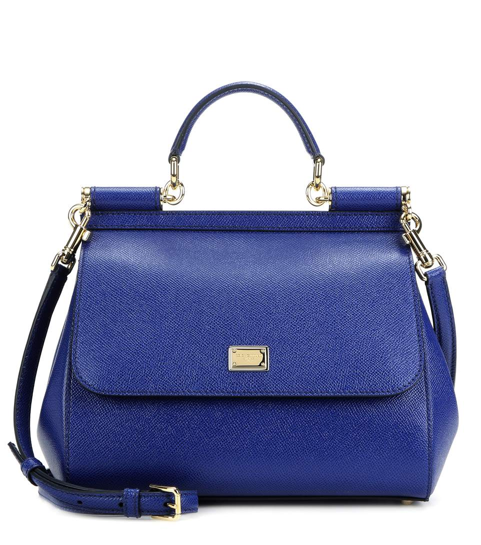 Dolce & Gabbana Miss Sicily Micro Leather Shoulder Bag In Blue
