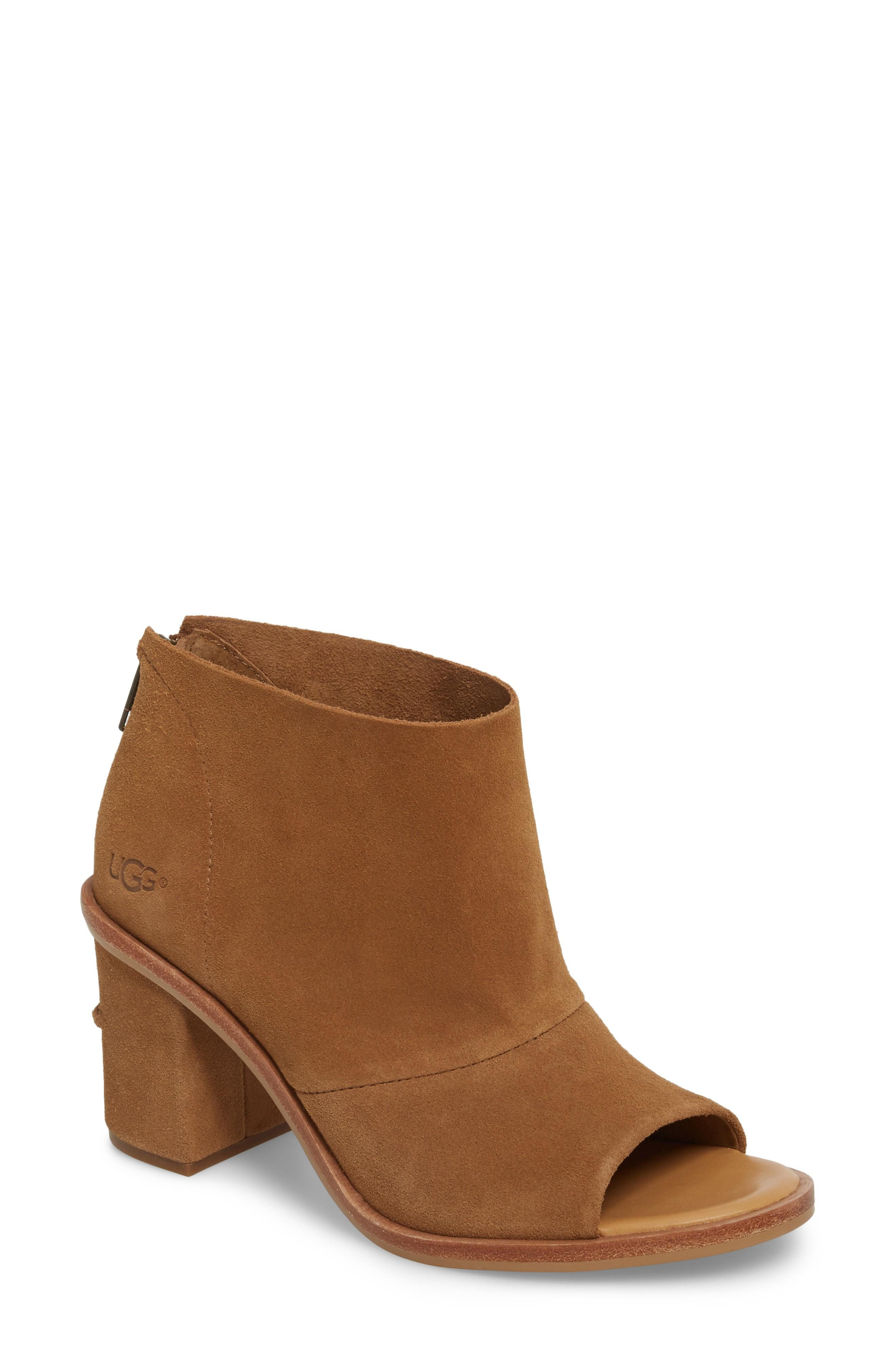 4c1568e288e Ugg Ginger Peep Toe Bootie in Chestnut Suede