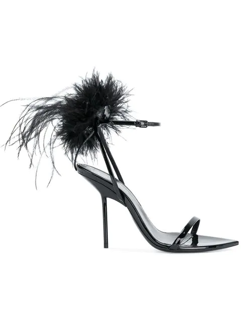 6714c7dc3a2 Patent Inez Feather Embellished Sandals 105 in 1000 Nero