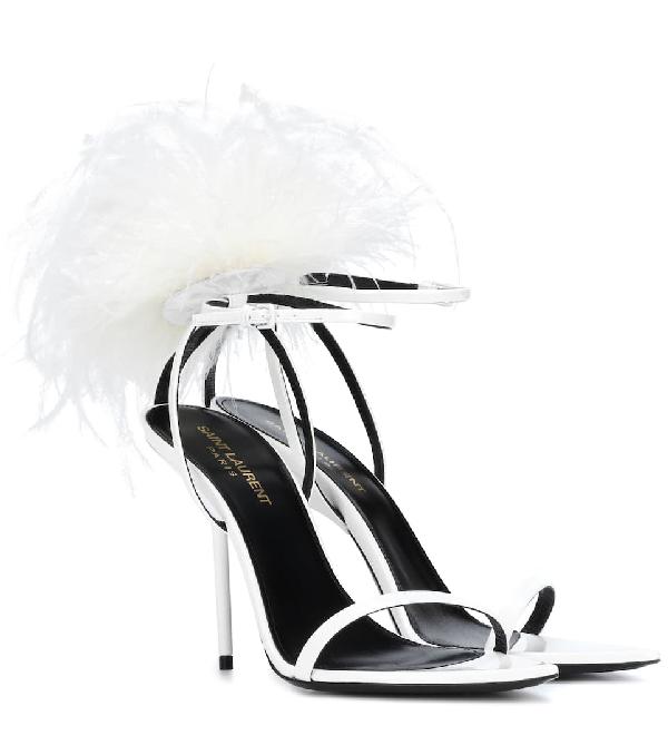 Saint Laurent Bunny Patent Leather Sandals - White