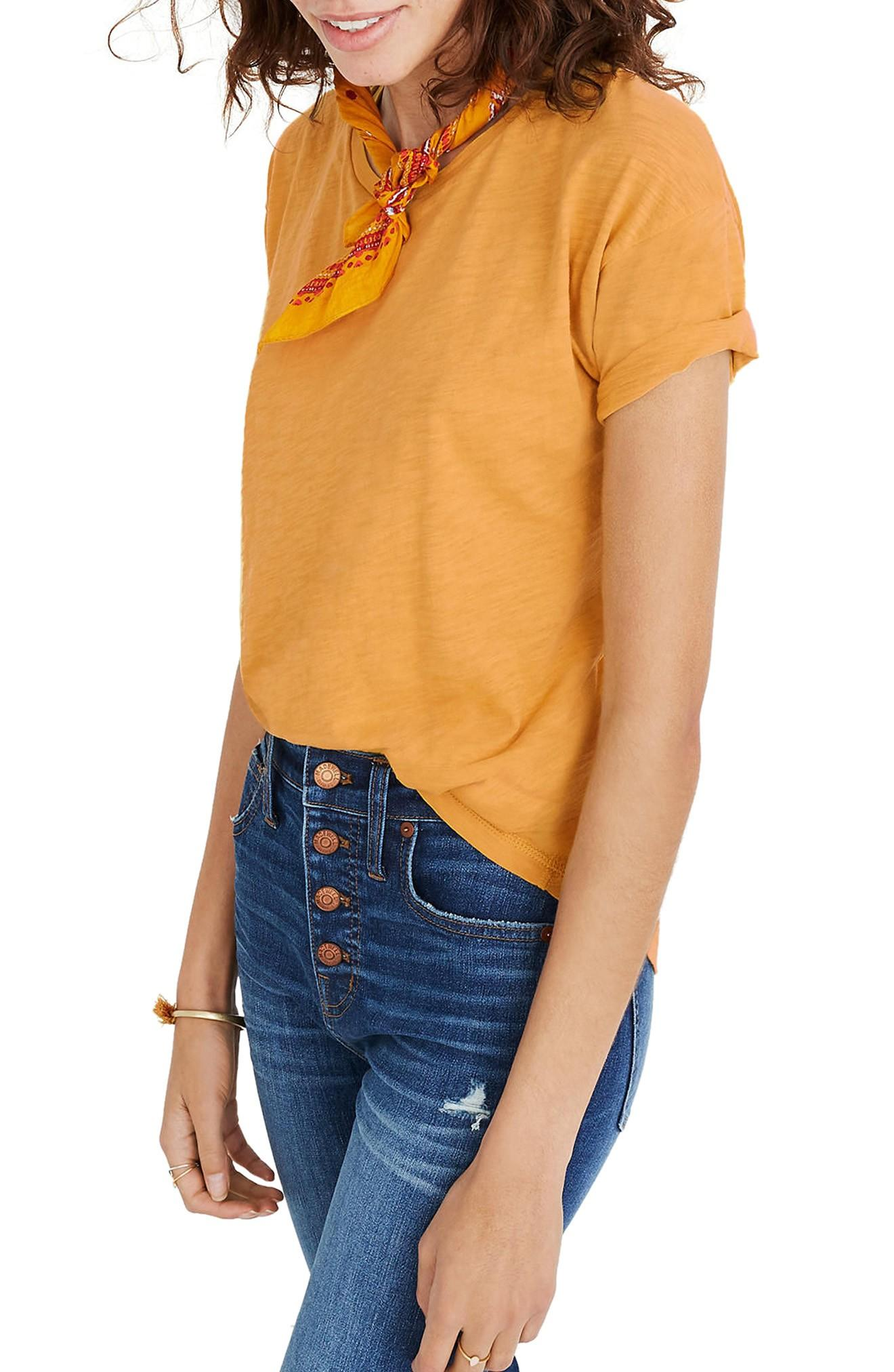 d49b1bc8c4 Madewell  Whisper  Cotton Crewneck Tee In Nectar Gold