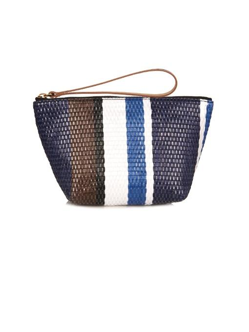 Marni Striped Raffia Pouch In Blue-Tone
