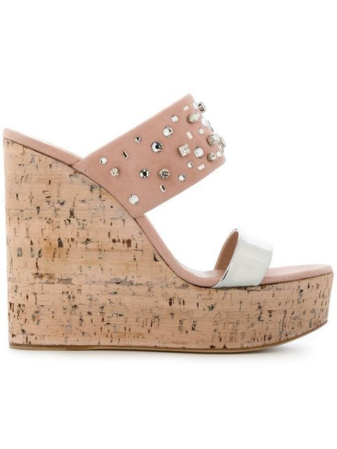Giuseppe Zanotti Cork Wedge Sandals In Pink