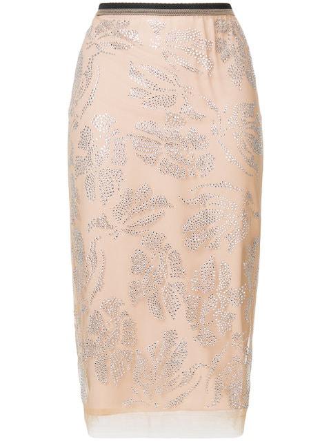 N°21 Cristal Embellished Tulle Skirt In Pink