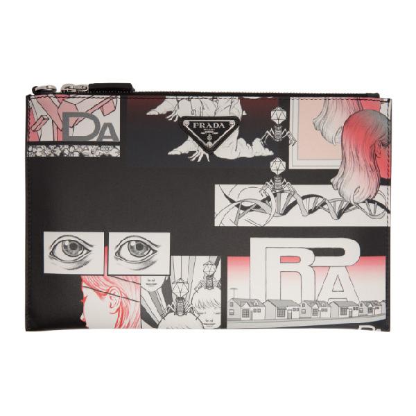 8560fad8fde9 Prada Comic-Print Leather Pouch In F0002 Nero | ModeSens