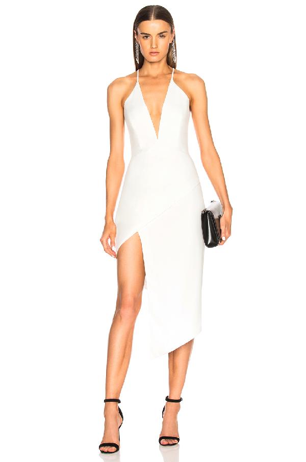 Michelle Mason Asymmetrical Plunge Dress In White