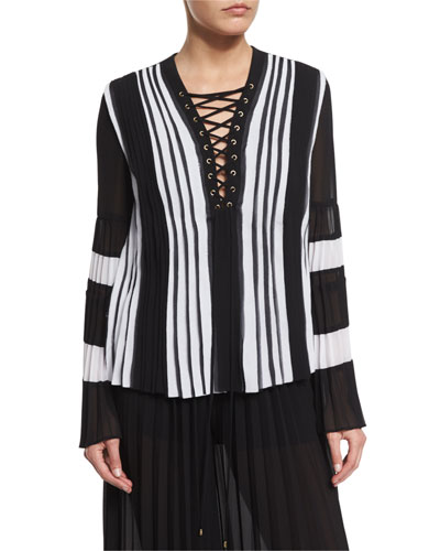 Just Cavalli Long-sleeve Pleated Lace-up Blouse, Black/white