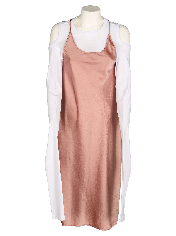 T By Alexander Wang Dress + Tshirt In Guava+White