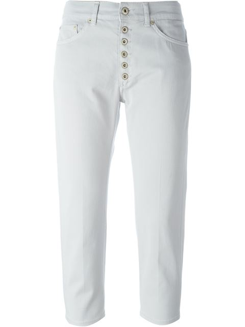 Dondup Buttoned Fly Trousers In White