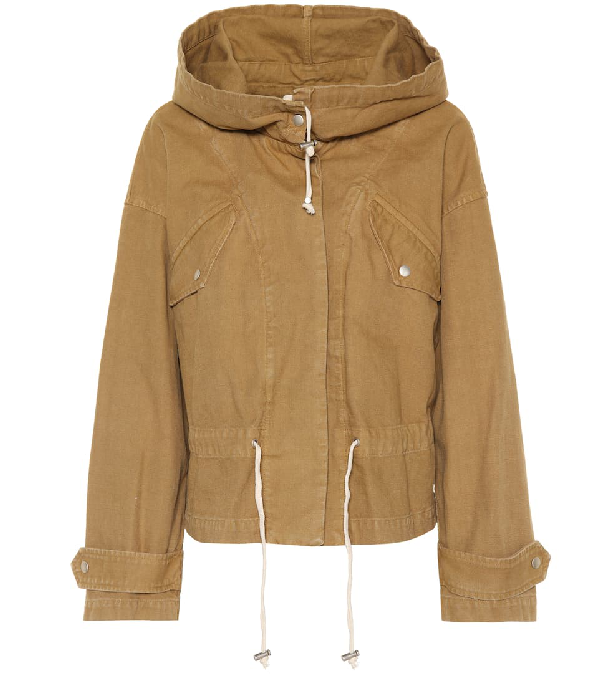 Etoile Isabel Marant Isabel Marant Etoile Brown Lagilly Short Cotton Trench Jacket In Beige