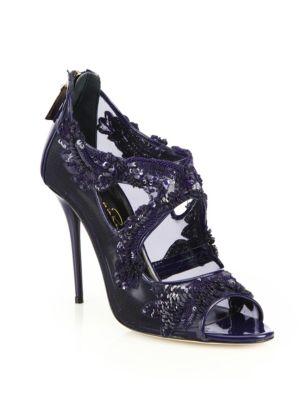 Oscar De La Renta Ambria Embroidered Peep-toe Sandals In Midnight