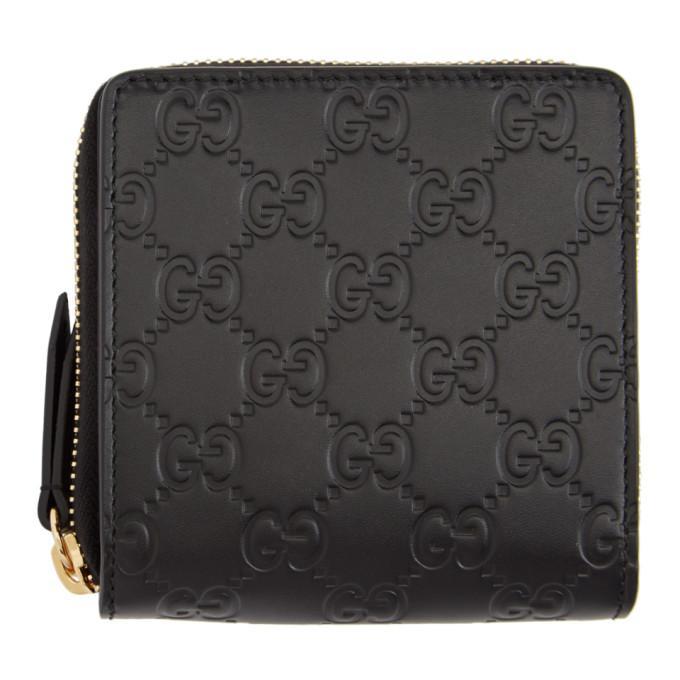 3379e131bc87 Gucci Black ' Signature' Zip-Around Wallet In 1000 Black | ModeSens