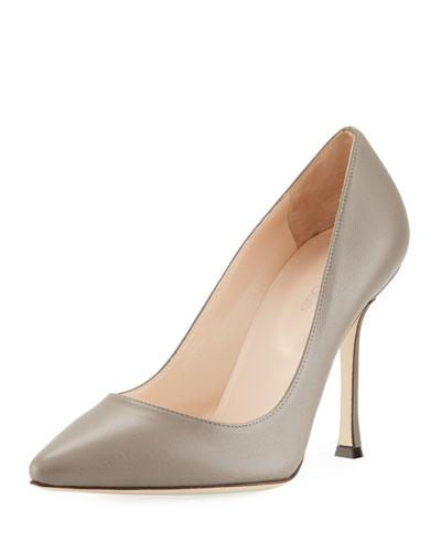 Sergio Rossi Secret Pointed-Toe Leather Pumps In Gray