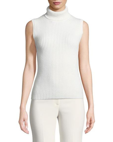 12a539905dd Michael Kors Cashmere Ribbed Sleeveless Turtleneck Sweater In White ...