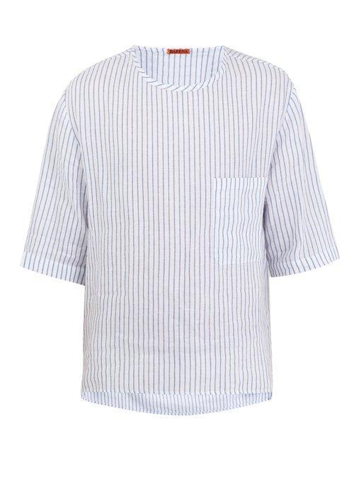 Barena Venezia Crew-Neck Striped Linen T-Shirt In White Multi