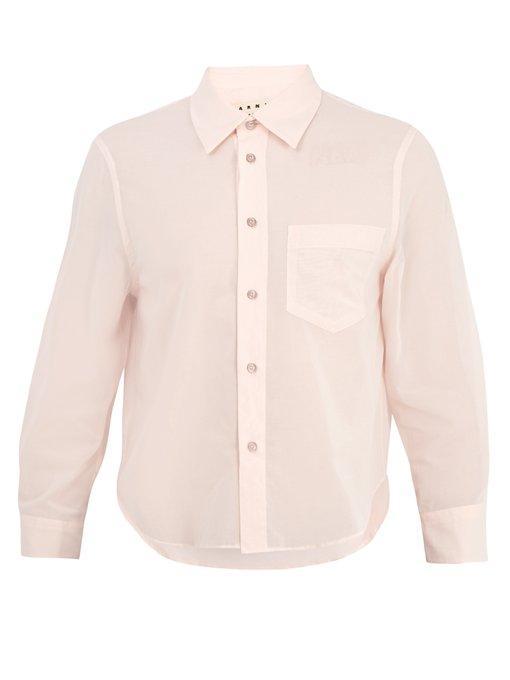 Marni Cropped-Sleeve Cotton-Poplin Shirt In Pink
