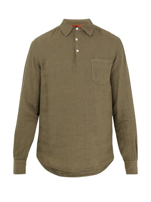 Barena Venezia Point-Collar Linen Shirt In Dark Green