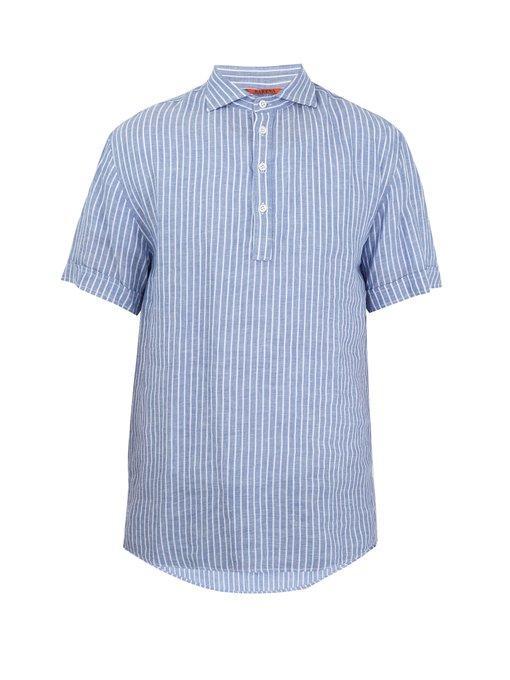 Barena Venezia Point-Collar Striped Linen Shirt In Blue Multi