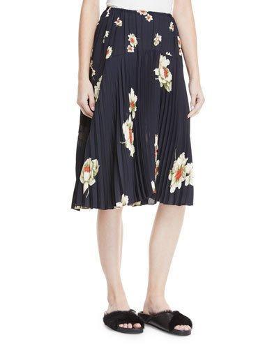 a7de12cc4 Vince Gardenia Floral-Print Pleated Seamed Midi Skirt In Coastal ...