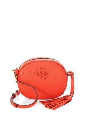 4ac0de1e6a8 Tory Burch Mcgraw Round Leather Crossbody Bag In Poppy Red