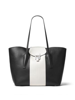 Michael Kors Bancroft Ew Leather Tote In Black