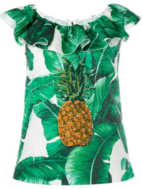 Dolce & Gabbana Printed Brocade Sleeveless Top With Jewelled Embellishment In Multicoloured
