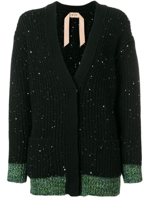 N°21 No. 21 - Sequin Embellished Wool Blend Cardigan - Womens - Black