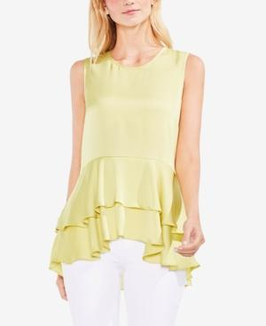 7fd52d29f147b1 Vince Camuto Sleeveless Tiered Ruffle Hem Satin Blouse In Mint Lime ...
