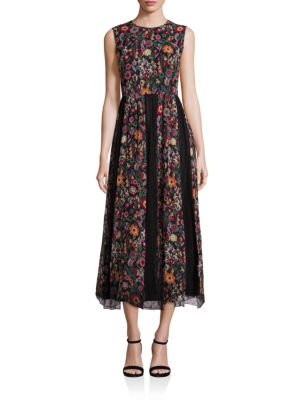 Red Valentino Crepe Floral Print Mid-length Dress In Multi