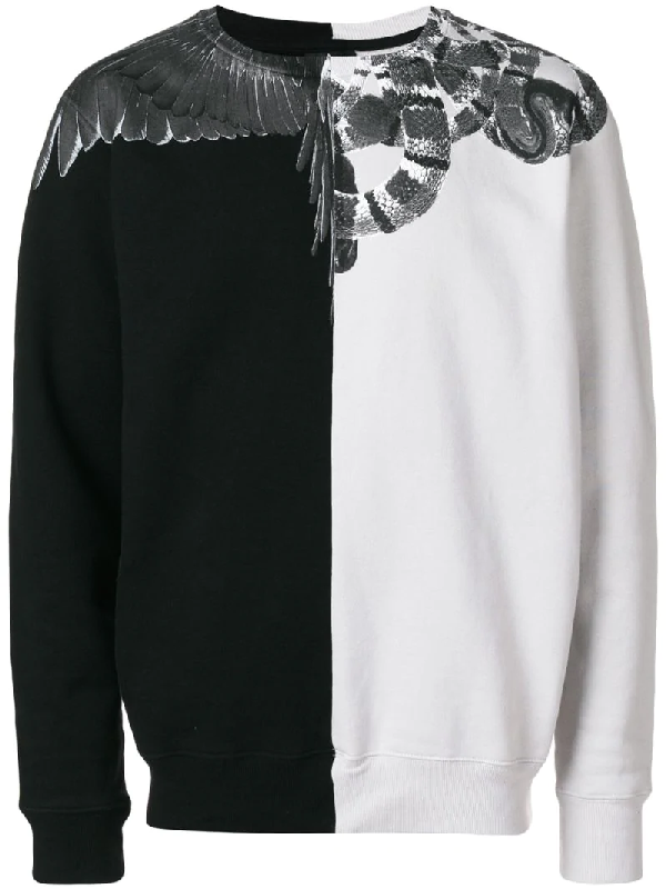 28b4434c Marcelo Burlon County Of Milan Snake Wing Black-White Cotton Sweatshirt
