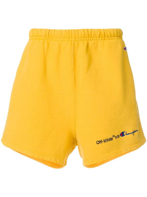 fd5235cf Off-White Off White C/O Virgil Abloh Men's Yellow Champion Shorts ...