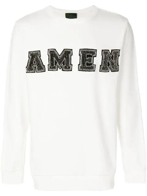 Amen Embellished Logo Sweatshirt In White