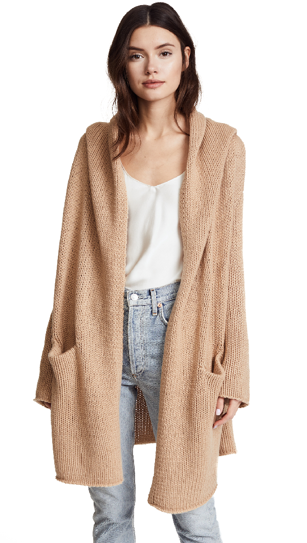 Collette Cozy Long Sweater In Camel