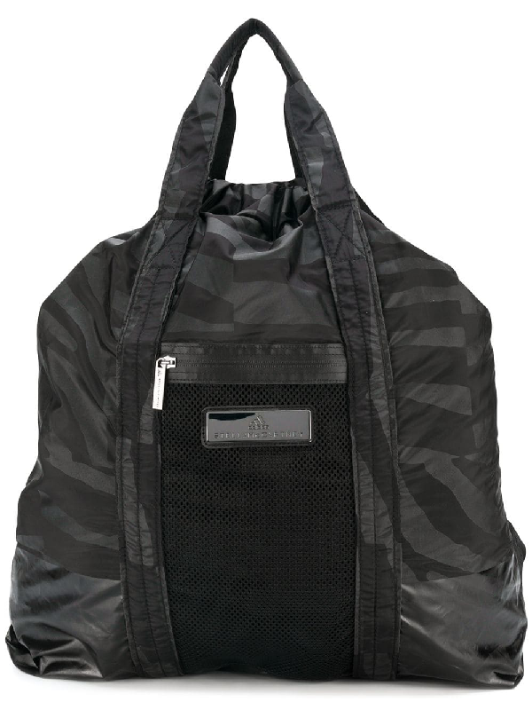 Adidas By Stella Mccartney Graphic Print Gym Backpack In Black