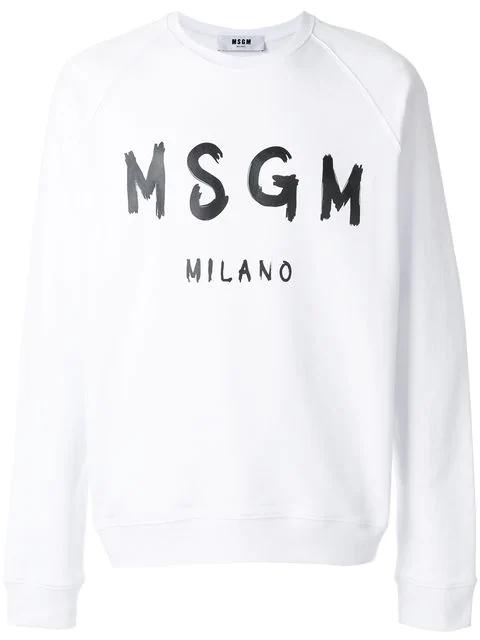 Msgm White Branded Sweatshirt